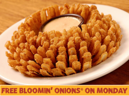 Outback free bloomin onion monday