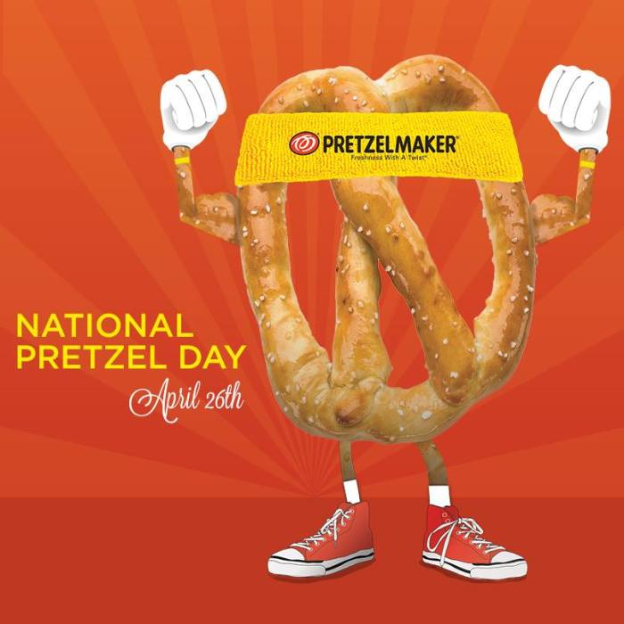 National Pretzel Day on April 26, 2014 - Free Pretzel at Pretzelmaker