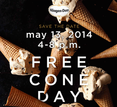 Free Cone Day at Häagen-Dazs Today (May 13, 2014) from 4-8 PM