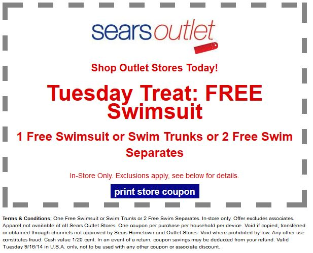 Discount coupons for sears outlet